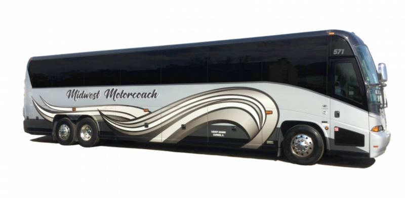 Midwest Motorcoach Bus Side White background