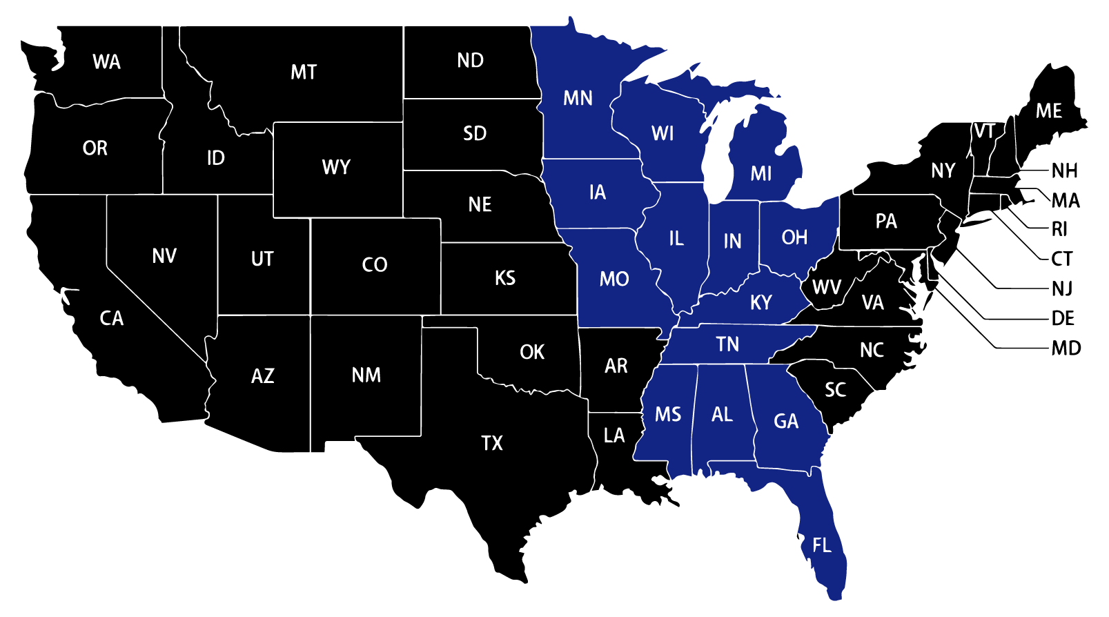 Service Area Map Midwest in Blue