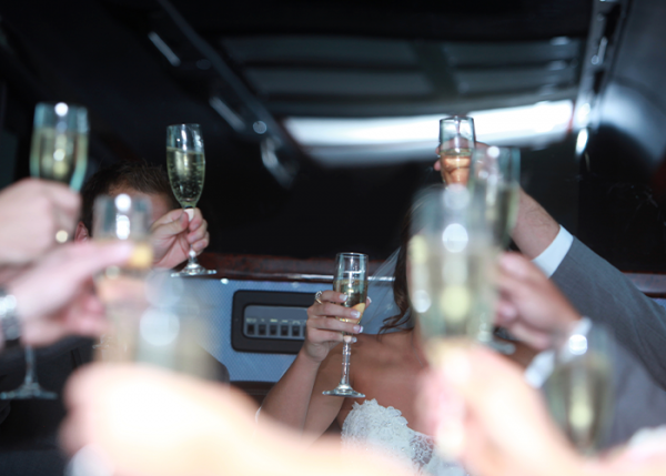 Wedding Van Bus Party Drinking Champagne